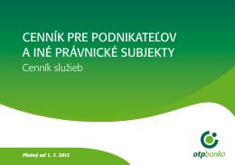 platný od 01.07.2013 - OTP Banka Slovensko, as