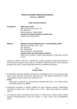 Zmluva o prenájme nebytových preistorov