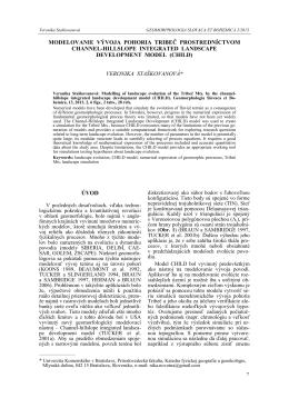 úvod modelovanie vývoja pohoria tribeč prostredníctvom