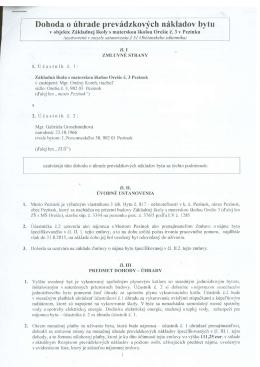 Dohoda o úhrade prevádzkových nákladov bytu