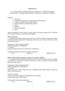 Zápisnica zo zasadnutia OZ dňa 04. 01. 2013