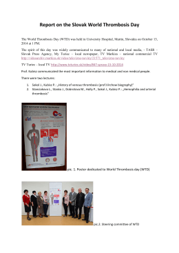 Report on the Slovak World Thrombosis Day