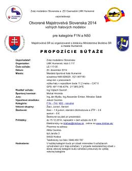 Otvorené Majstrovstvá Slovenska 2014 PROPOZÍCIE SÚŤAŽE