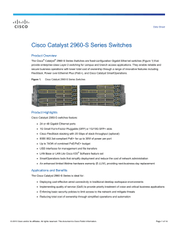 Cisco Catalyst 2960-S Series Switches Data Sheet