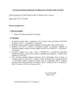 Uznesenie obecného zastupiteľstva v