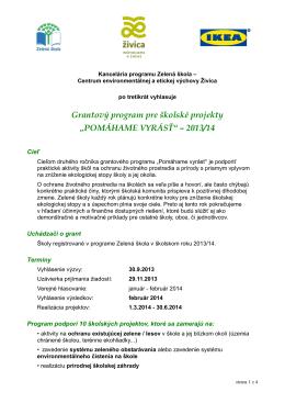 """""""POMÁHAME VYRÁSŤ"""" – 2013/14"""