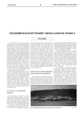 P. Bella: Geomorfologické pomery okolia jaskyne Domica