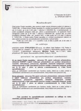 Povolení ke zprostředkování zaměstnání 18.10.2011