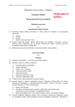 Organizačný poriadok Strojníckej fakulty