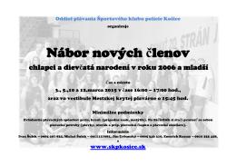 nábor nových plavcov!!! - ŠKP Košice, Oddiel plávania