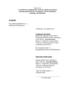 Správa za školský rok: 2010/2011