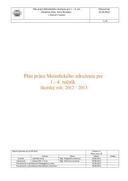 Plán práce MZ 1-4 roč - ZŠ Petra Škrabáka Dolný Kubín