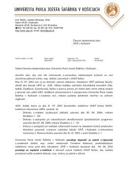 Váš list/zo dňa - Univerzita Pavla Jozefa Šafárika v Košiciach
