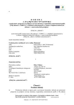DOHODA č. 25/§50j/NS 2013/NP VAOTP SR-2