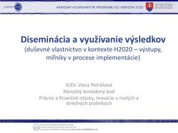 Diseminácia a využívanie výsledkov - Centrum vedecko