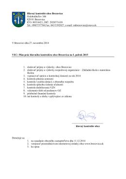 Plán prác hl. kontrolóra na obdobie 1-6/2015