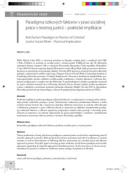 Paradigma rizikových faktorov v praxi sociálnej práce v trestnej justícii