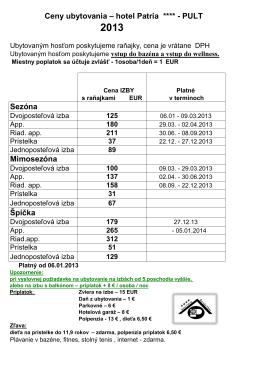 Ceny ubytovania – hotel Patria ****