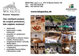 Leták Klopačka - penzión klopačka, špania dolina