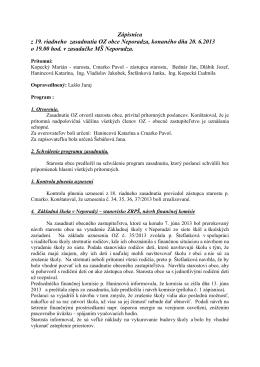 Zápisnica z 19. riadneho zasadnutia OZ obce