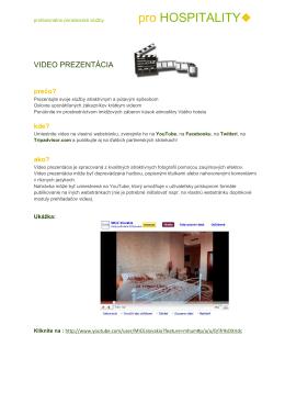 Video prezentácia pre hotely a reštaurácie