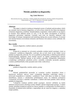 Metódy podnikovej diagnostiky