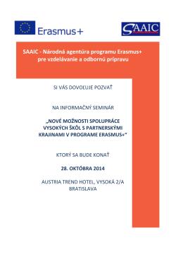 SAAIC - Národná agentúra programu Erasmus+ pre vzdelávanie a