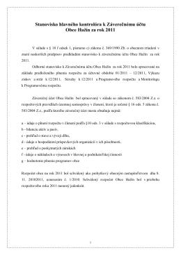 Stanovisko k záverečnému účtu za rok 2011
