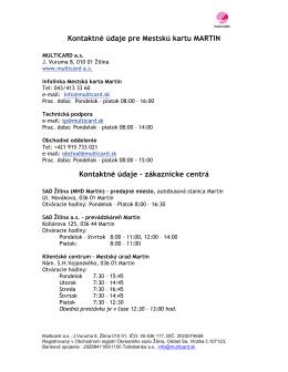 Zoznam kontaktných miest MHD Martin
