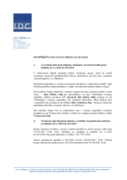 ŠTVRŤROČŇÁ FINANČNÁ SPRÁVA K 30.9.2014