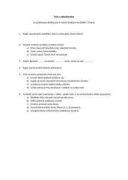 Test z náboženstva na prijímacie skúšky pre 8