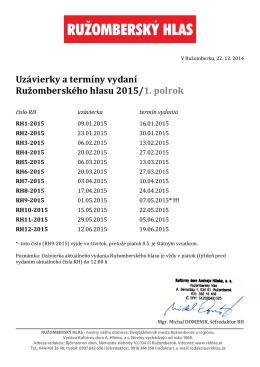 Uzávierky RH 2015
