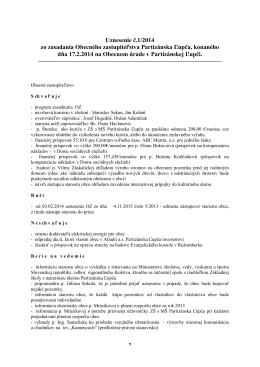 Uznesenie Obecného zastupiteľstva 1/2014