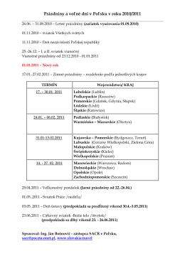 Prazdniny a volne dni v PL v roku 2010-2011