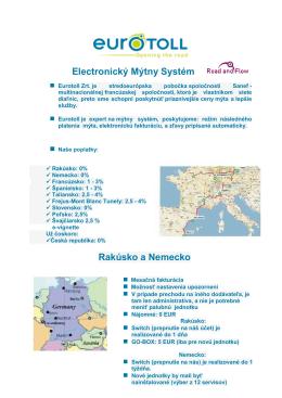 Electronický Mýtny Systém Rakúsko a Nemecko