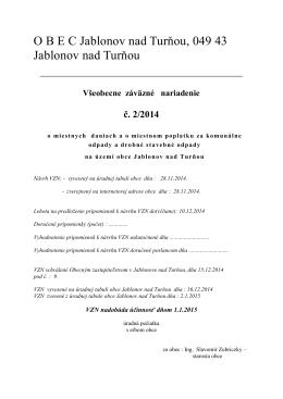 VZN č. 2/2014 o miestnych daniach a poplatkoch
