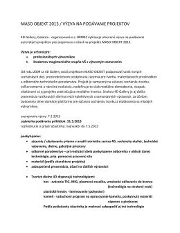 maso objekt 2013 / výzva na podávanie projektov