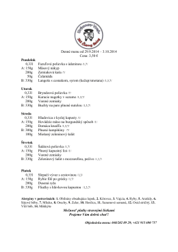 Denné menu od 29.9.2014 – 3.10.2014 Cena: 3