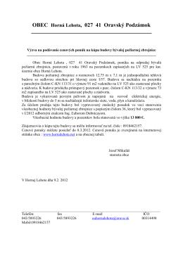 OBEC Horná Lehota, 027 41 Oravský Podzámok