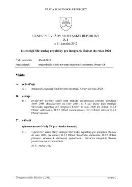 uznesenie vlády SR č. 1/2012