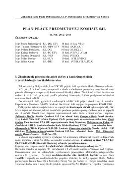 plán práce predmetovej komisie sjl