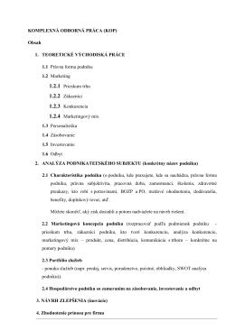 KOMPLEXNÁ ODBORNÁ PRÁCA (KOP) Obsah 1. TEORETICKÉ