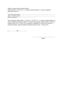 Súhlas so spracúvaním osobných údajov (podľa zákona č