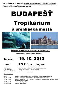 BUDAPEŠŤ - Cestovná agentúra Výletovo