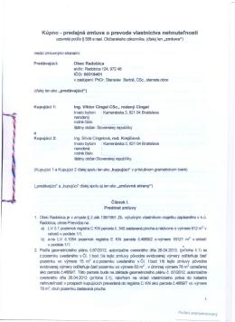 Kúpno - predajná zmluva o prevode vlastníctva