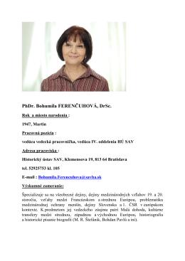PhDr. Bohumila FERENČUHOVÁ, DrSc.