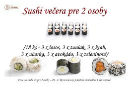 Sushi večera pre 2 osoby Sushi večera pre 2 osoby