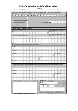Žiadosť o registráciu pre DPH skupina