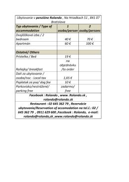 Ubytovanie v penzióne Rolando , Na Hriadkach 51 , 841 07