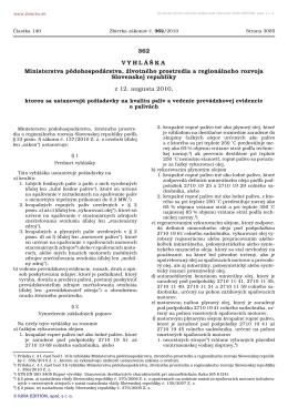 362/2010 Vyhláška Ministerstva pôdohospodárstva